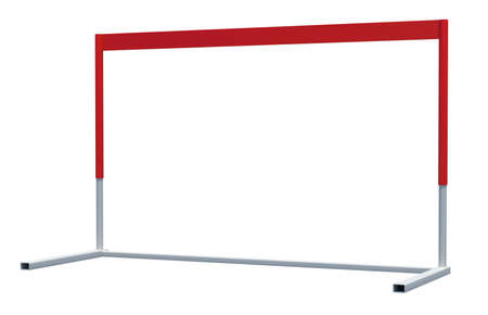 competitiveness: Red and white treadmill barrier on isolated white background