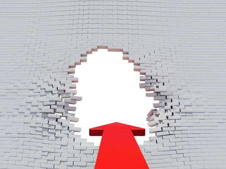 hole in wall: Wall crash arrow with white hole and bricks Stock Photo