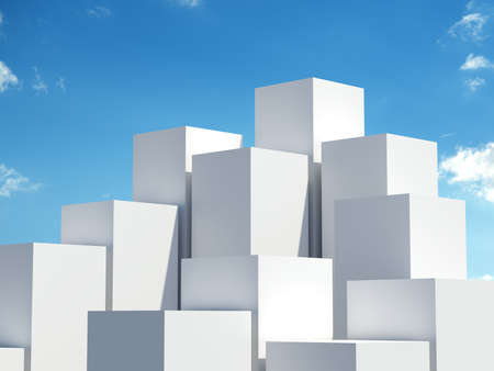 ebox: Stack of white boxes on blue sky background