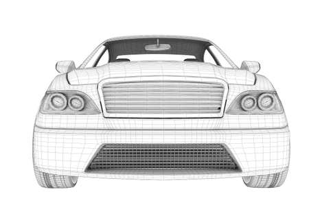 front view: Car on isolated white background, front view