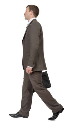 councilor: Businessman with suitcase on isolated white background, rear view