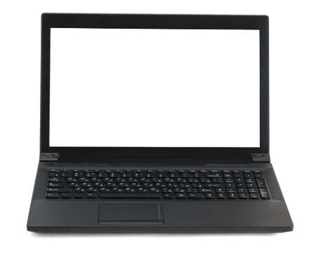 front view: Laptop on isolated white background, front view