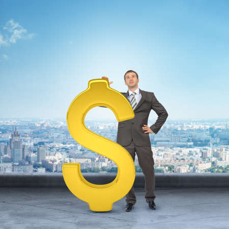 councilor: Businessman leaning on dollar sign on cityscape background