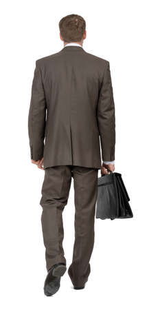 councilor: Businessman walking on isolated white background, rear view