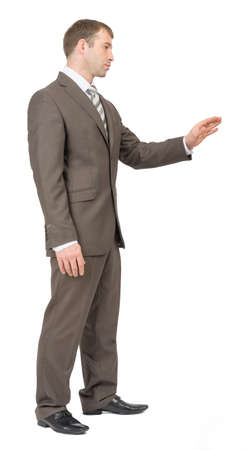 councilor: Businessman standing on isolated white background, side view