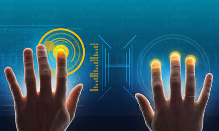 holographic: Humans hands touching holographic screen with world map