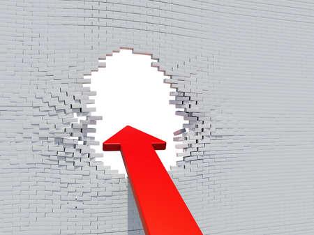 white hole: Wall crash arrow with white hole and bricks Stock Photo