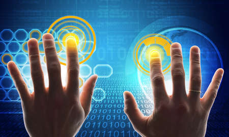 holographic: Buisnessmans hands touching holographic screen with world map Stock Photo