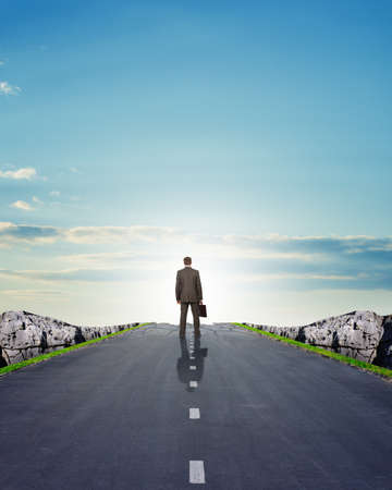 rear view: Businessman on road with mountains, rear view