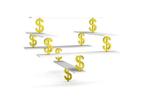 stable: Financial balance, stable equilibrium on isolated white background Stock Photo