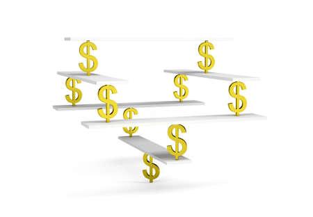 equilibrium: Financial balance, stable equilibrium on isolated white background Stock Photo