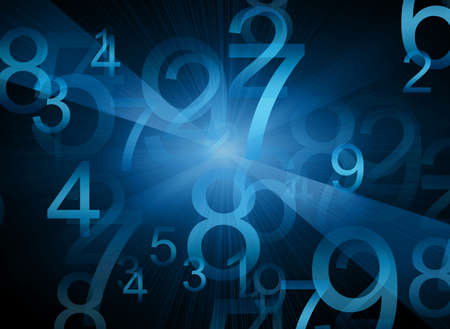 numbers abstract: Abstract blue background with numbers and rays