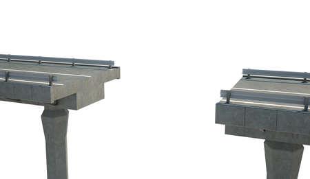 unfinished: Grey unfinished bridge on isolated white background Stock Photo