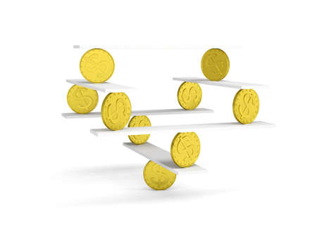 Financial balance, stable equilibrium on isolated white background Stock Photo