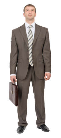 councilor: Businessman with suitcase looking up on isolated white background Stock Photo