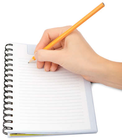 papel de notas: Hand writing in notebook on isolated white background