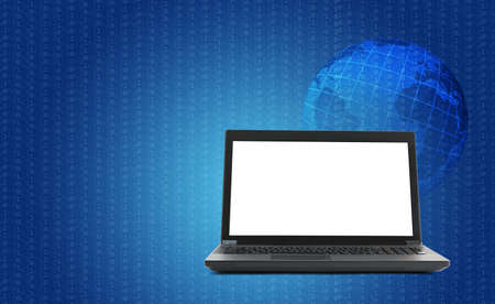 url virtual: Black laptop with earth globe and lightspot on blue background