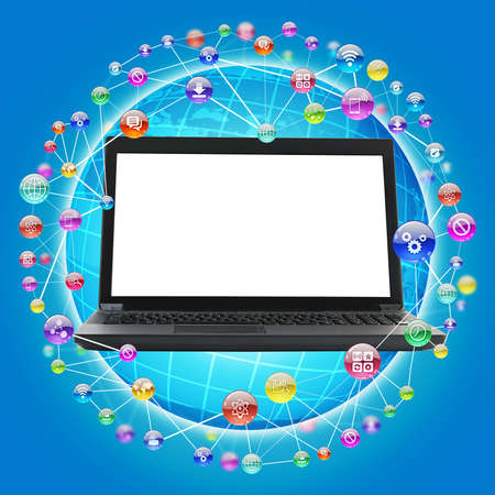 laptop screen: Laptop with blank screen on blue background with comtuter icons Stock Photo