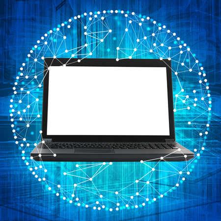 laptop screen: Laptop with blank screen on blue background with white dots Stock Photo