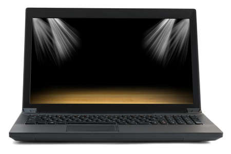 url virtual: Black laptop with picture of stadium on isolated white background