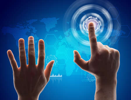 holography: Hand pressing virtual button on futuristic holographic screen with world map