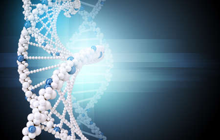 raytrace: DNA molecule on blue background with lightspot