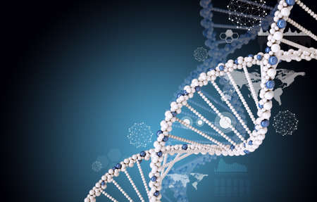 dna sequencing: DNA molecule on blue background with lightspot