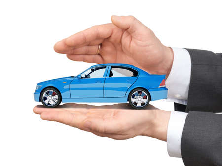 pkw: Car in hands on isolated white background Stock Photo
