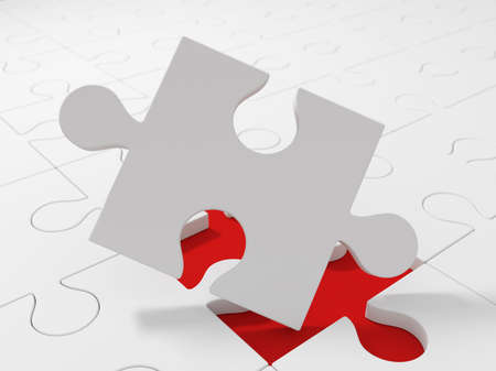 close up view: White puzzle pieces, close up view. Choice