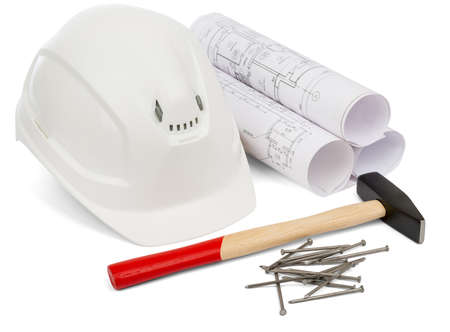 construction level: Claw hammer and rolled blueprints on isolated white background Stock Photo