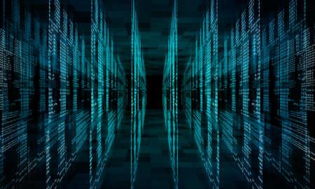 Virtual abstract fantasy cyber reality room. Matrix