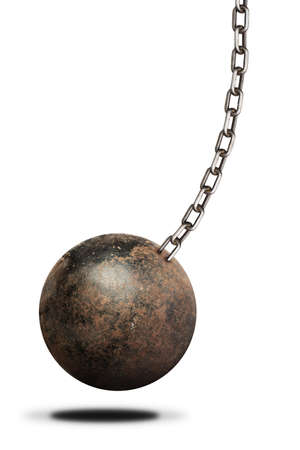 indebted: Ball and chain isolated on white background Stock Photo