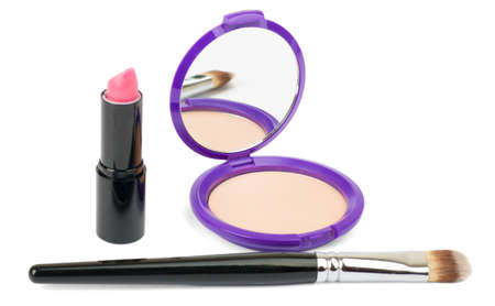 perle: Isolated cosmetics accessories, brush, lipstick on isolated white background