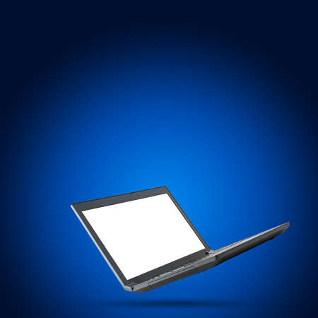 url virtual: Black laptop with blank screen on blue background Stock Photo