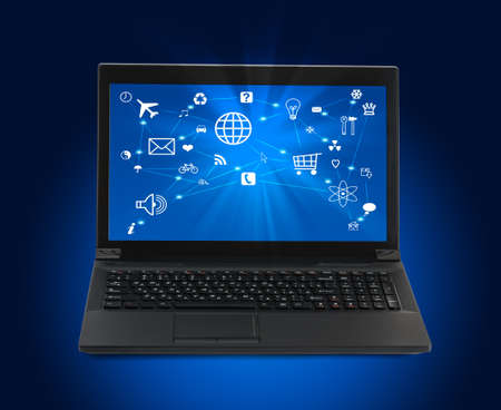 url virtual: Black laptop with lightspot on blue background