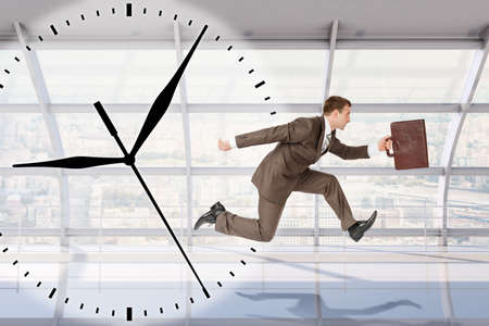 councilor: Businessman running on grey clock backgound with interior view