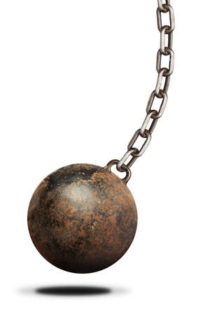 restraint device: Old, heavy prisoner ball and chain over white background. Isolated