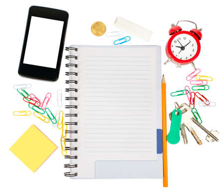 papel de notas: Open notebook with stationery and smartphone isolated white background, closeup Foto de archivo
