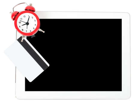Tablet with alarm clock and credits isolated on white background