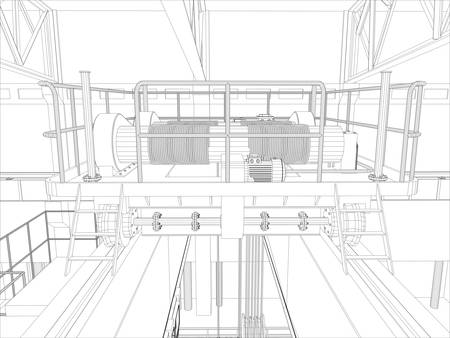 condensing: Equipment for heating system on white, interior view. Vector