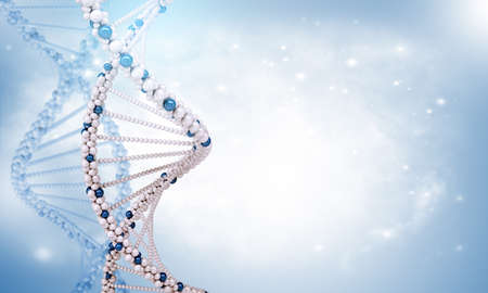 genomes: DNA molecule on blue background, science concept