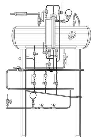 exchanger: Picture of heat exchanger on white background Illustration