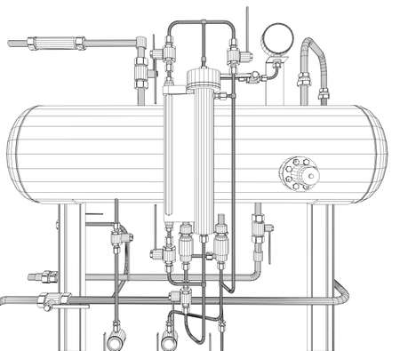 scetch: Scetch of heat exchanger on white background