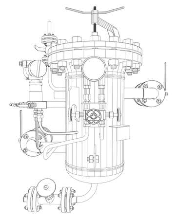 exchanger: Scetch of heat exchanger with pipes, close up view Illustration