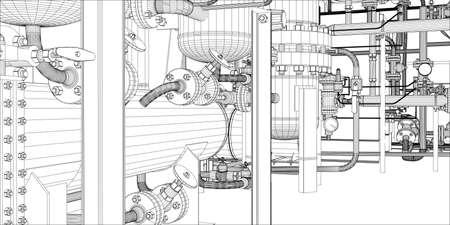Ilustracja sprzętu do instalacji grzewczej z rur na białym