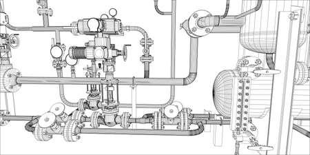 Ilustracja sprzętu do instalacji grzewczej z rur na białym, widok z bliska