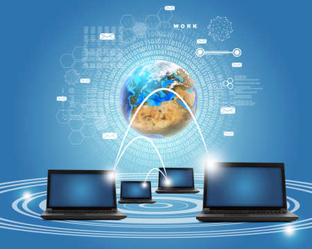 url virtual: Set of laptops with earth globe on blue background