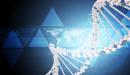 genomes: DNA molecule on blue background with world map