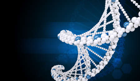 genomes: DNA molecule on blue background, abstract background, closeup