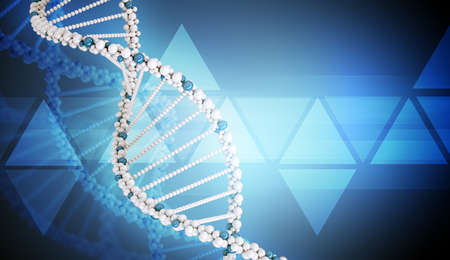 genomes: DNA molecule on dark blue background, abstract background, close up view Stock Photo